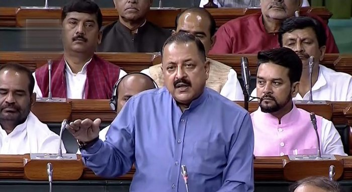 Union Minister for Development of North Eastern Region (DoNER) Jitendra Singh speaks in the Lok Sabha during the Monsoon session of Parliament, in New Delhi on Tuesday. (PTI/TV Grab)