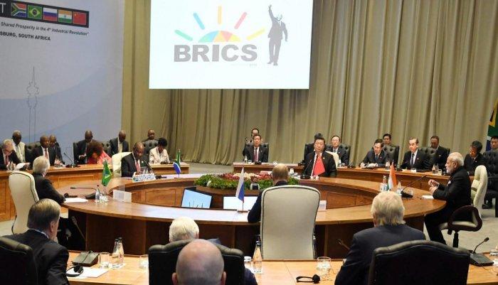 Johannesburg: Prime Minister Narendra Modi at BRICS Leaders' Restricted Session, in South Africa on Thursday. (PIB Photo via PTI)