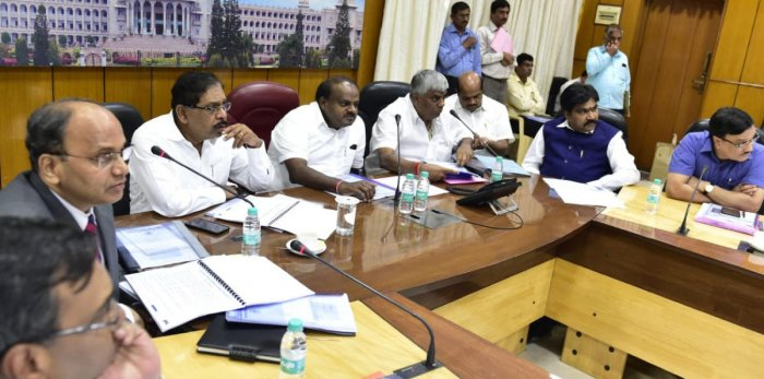 Chief Minister H D Kumaraswamy chairs a meeting on 'Construction of Proposed Elevated Corridors in Bengaluru city' on Monday.