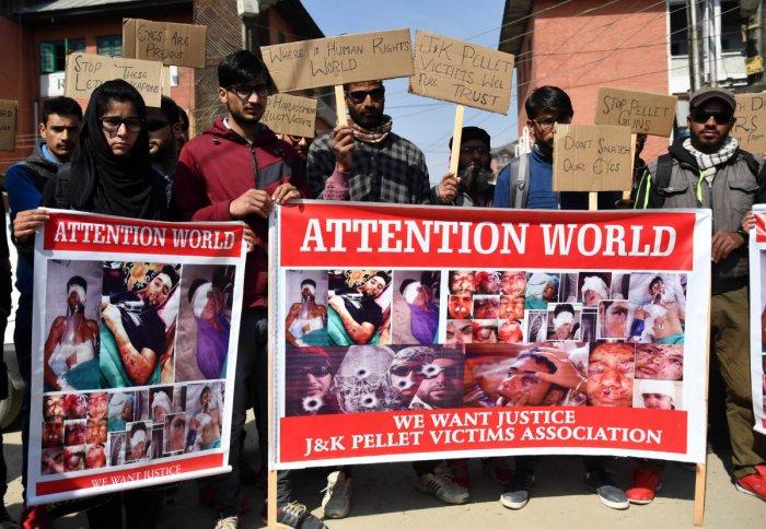 Pellet gun victims in Kashmir