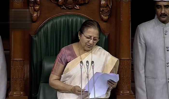 Lok Sabha Speaker Sumitra Mahajan speaks during the obituary reference of DMK chief M Karunanidhi, during the Monsoon session of Lok Sabha, in New Delhi on Wednesday, Aug 08, 2018. (LSTV Grab via PTI)