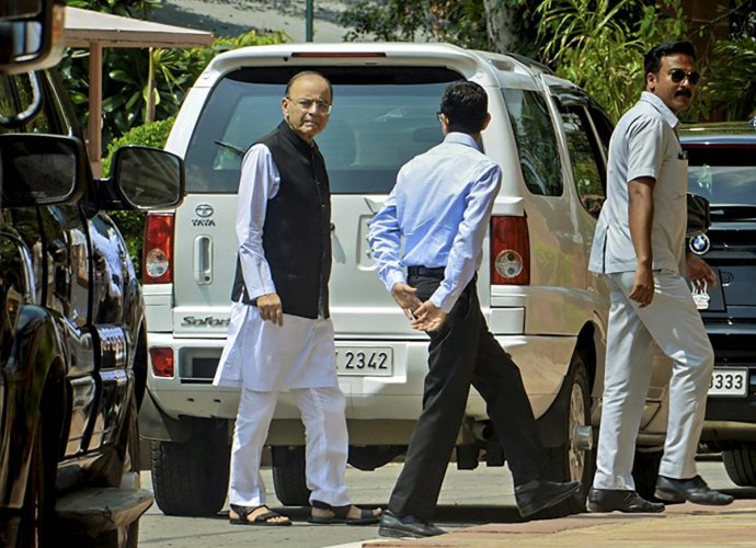 Union minister Arun Jaitley arrives at Parliament, in New Delhi on Thursday. (PTI Photo)
