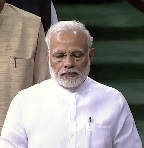 While congratulating the winner in the House, Modi made some remarks which were found to be objectionable by Opposition MPs.