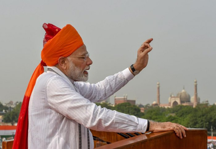 Prime Minister Narendra Modi addresses the nation from the ramparts of the historic Red Fort on the occasion of 72nd Independence Day, in New Delhi. PTI Photo