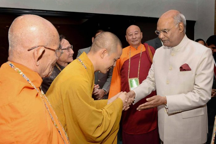 President Ram Nath Kovind at the inauguration of the 6th International Buddhist Conclave, organised by the Ministry of Tourism, in New Delhi on Thursday. PTI