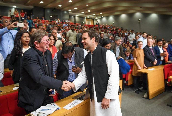 Congress president Rahul Gandhi at an interactive session at London School of Economics, London on Friday. PTI file photo