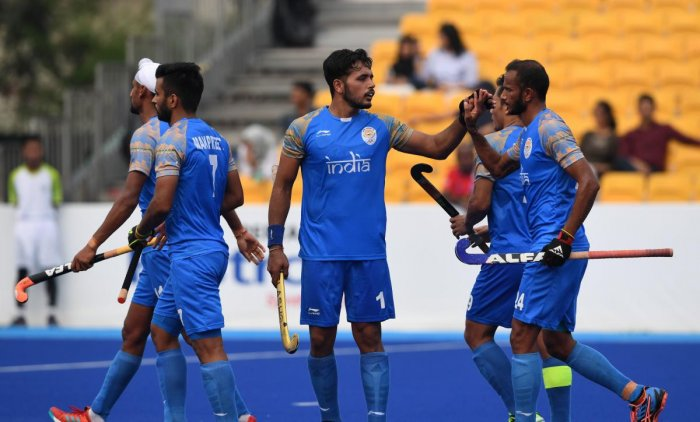 DOMINANT India's (from left) Akashdeep Singh, Manpreet Singh, Harmanpreet Singh, Chinglensana Singh and SV Sunil celebrate after scoring a goal against Sri Lanka in Jakarta on Tuesday. AFP