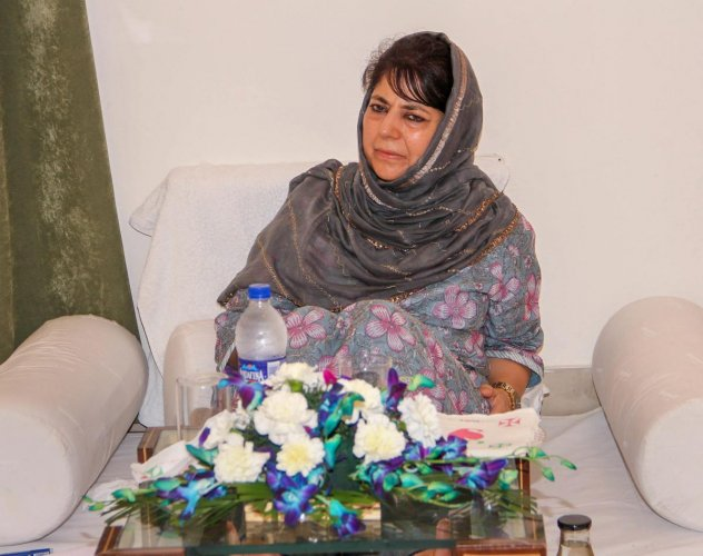 People's Democratic Party (PDP) President and former chief minister Mehbooba Mufti during senior party leader's meeting, in Jammu on Sunday, Sept 2, 2018. (PTI Photo)