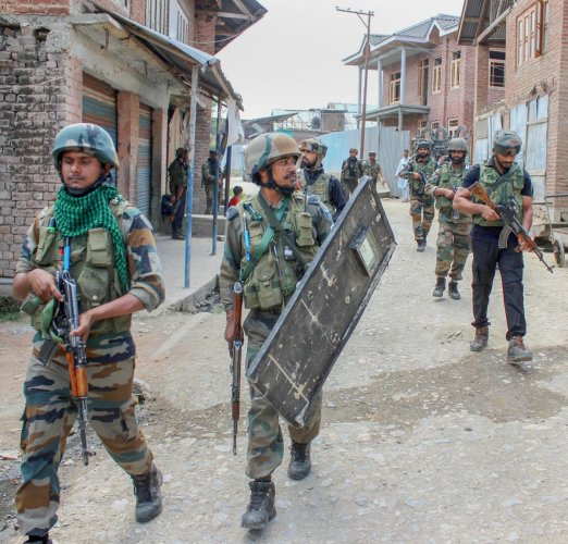 The clashes erupted at anumber of places in thesouthern district after security forces launched massive anti-militancy operations in 20 villages of Pulwama on Monday morning.