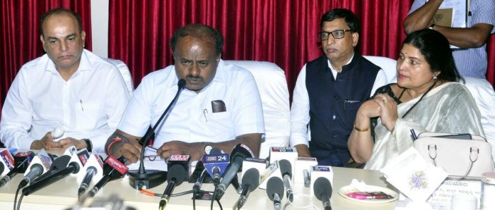 Chief Minister H D Kumaraswamy speaks to reporters in Udupi on Friday.
