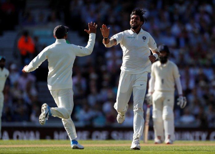 celebration time: India's Ishant Sharma celebrates with Virat Kohli after dismissing England's Jonny Bairstow. Reuters