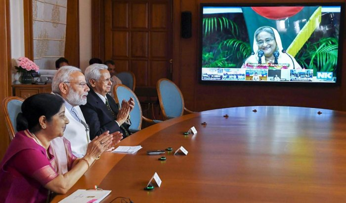 Prime Minister Narendra Modi on Monday joined his Bangladesh counterpart Sheikh Hasina through video-conferencing to jointly inaugurate three projects in the neighbouring country.
