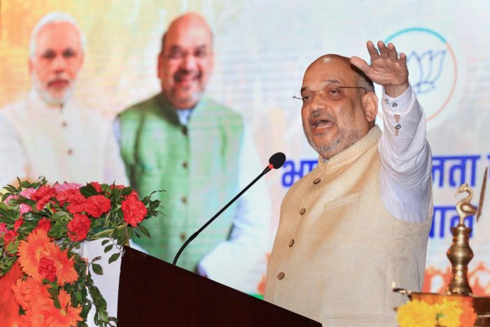"""""""BJP was never branded as a party of a particular community),"""" Shah said, adding that the party has people from Mali, Gurjar, Jat and other castes. (PTI Photo)"""