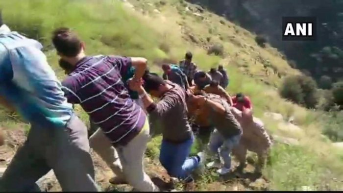 The minibus was on its way to Kishtwar from the Keshwan area when the accident occurred. (ANI Photo/Twitter)