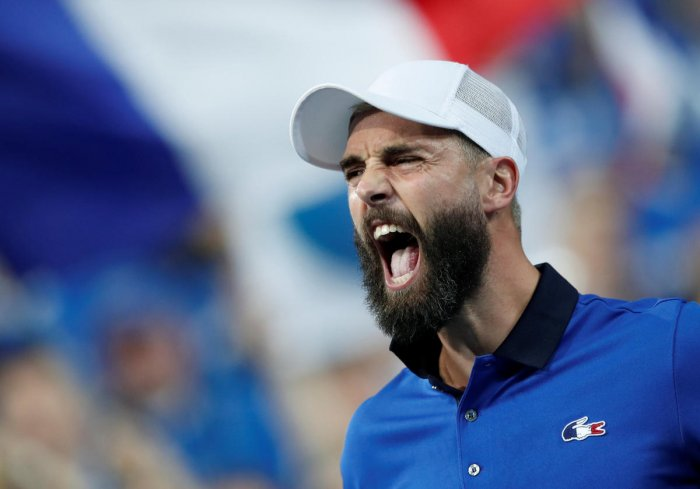 WAR CRY: France's Benoit Paire celebrates after winning his match against Spain's Pablo Carreno Busta. REUTERS
