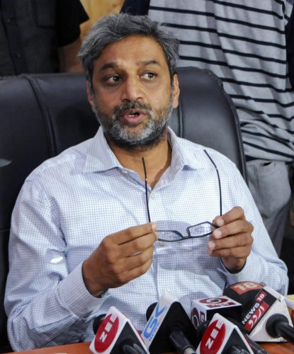 Chief Electoral Officer Shaleen Kabra addresses a press conference as he announces the dates for Muncipal elections, in Srinagar on Saturday. PTI