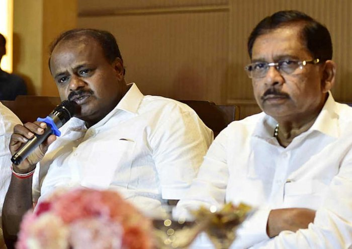 Chief Minister H D Kumaraswamy and Dy Chief Minister G Parameshwara. DH file photo.