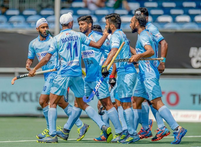 Indian team celebrates a goal against Australia during the Rabobank Men's Hockey Champions Trophy Breda 2018, in Netherlands. PTI