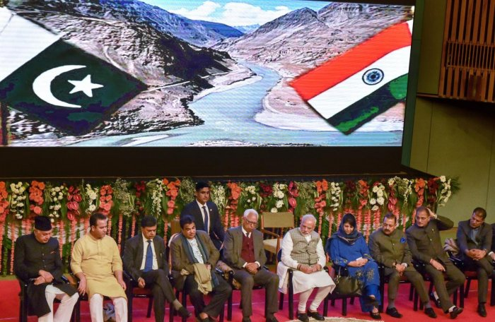 Prime Minister Narendra Modi with J&K Governor NN Vohra, Chief Minister Mehbooba Mufti and other dignitaries after inaugurating Kishanganga Power Station (330 MW) Bandipora, during a function at SKICC in Srinagar. PTI
