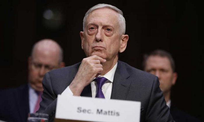 """U.S. Defense Secretary Jim Mattis testifies before a Senate Armed Services Committee hearing on the """"Defense Department budget posture in review of the Defense Authorization Request for FY2019 and the Future Years Defense Program"""" on Capitol Hill in Washington, U.S., April 26, 2018. Reuters."""