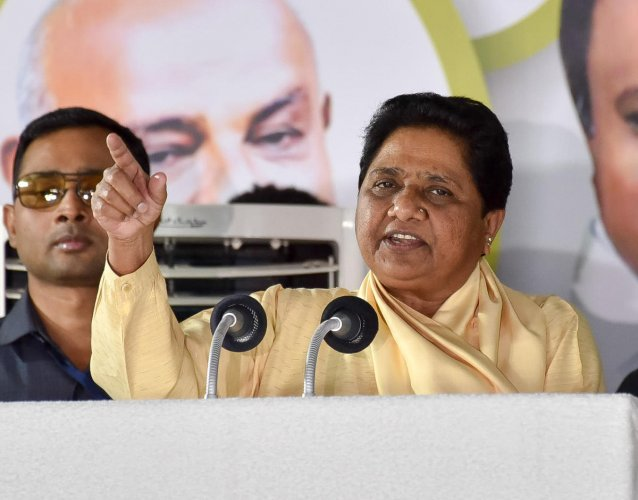 BSP National President Mayawati speaking at the 'Kumara Parva', jointly organised by JS(D) and BSP at Maharaja College Ground in Mysuru on Wednesday