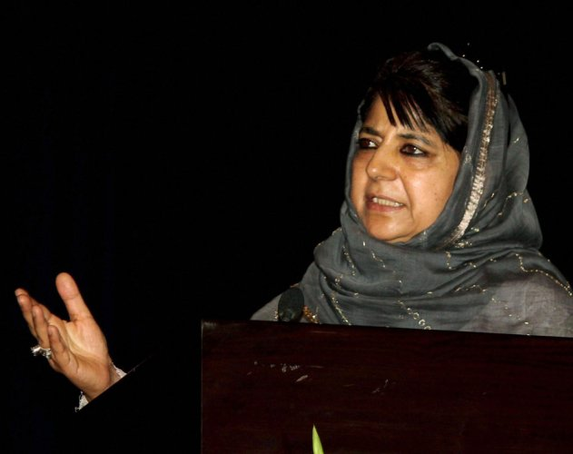 """""""It wasa unanimous decision of all the parties during the meeting that the government of India should consider ceasefire during Ramadhan in Kashmir,"""" Chief Minister Mehbooba Mufti told reporters. (PTI file photo)"""