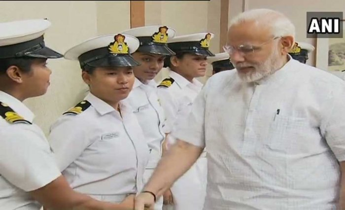 he Prime Minister congratulated the naval officers on the success of their mission. ANI photo
