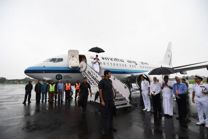 Modi, after an overnight stay in the state capital, left for Kochi on Saturdaymorning for the aerial survey and the review meeting to get a first-hand knowledge of the enormity of the mayhem caused by the southwest monsoon. (Image: PMO/Twitter)