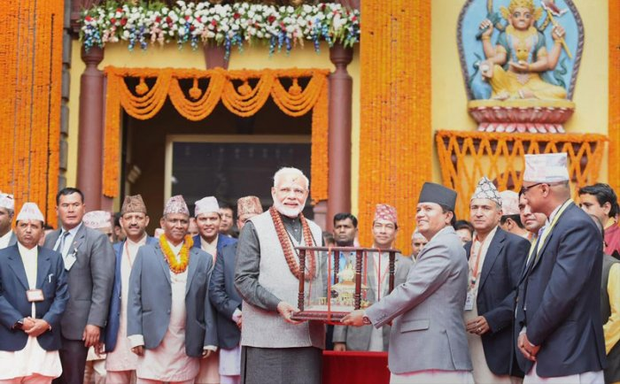 Prime Minister Narendra Modi at Pashupatinath Temple in Kathmandu, on Saturday. PTI photo.