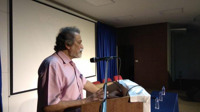 Prof Prabhat Patnaik speaks at the event. Source: Facebook/Bengaluru Collective.