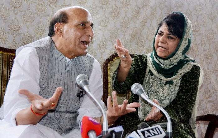 nion Home Minister Rajnath Singh and Jammu and Kashmir Chief Minister Mehbooba Mufti interact with media during a press conference in Srinagar. BJP on Tuesday, June 19, 2018, has pulled out of the alliance government with Mehbooba Mufti-led People's Democratic Party in Jammu & Kashmir. PTI file photo.
