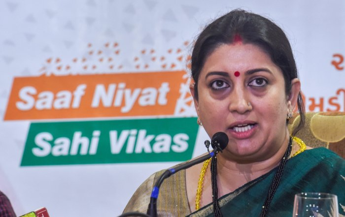 Union Minister of Textiles, Smriti Irani interacts with the media on completion of 4 years of the NDA government, in Ahmedabad on Saturday. PTI
