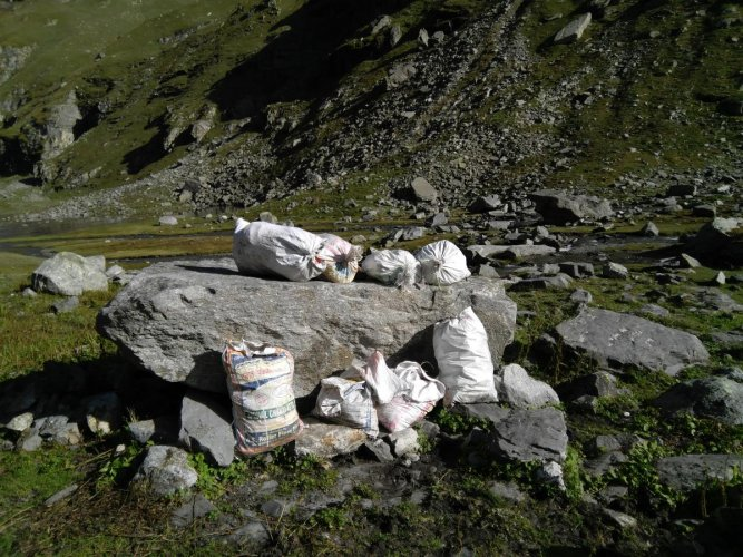Trash bags collected in Balu ka Ghera campsite, Manali