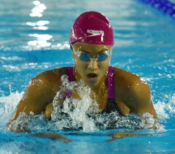 SPLASHING RECORDS: Karnataka's Saloni Dalal en route to the gold in the 100M breaststroke on Saturday.