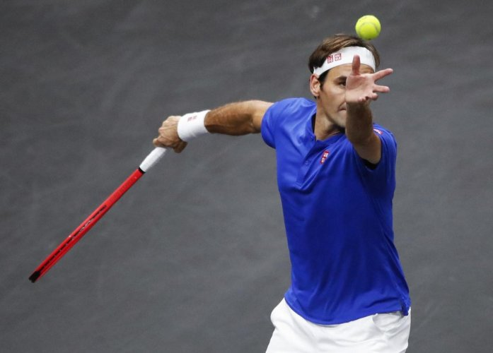ALL GRACE Team Europe's Roger Federer posted an easy win over Team World's Nick Kyrgios in the Laver Cup tennis in Chicago on Saturday. AP-PTI