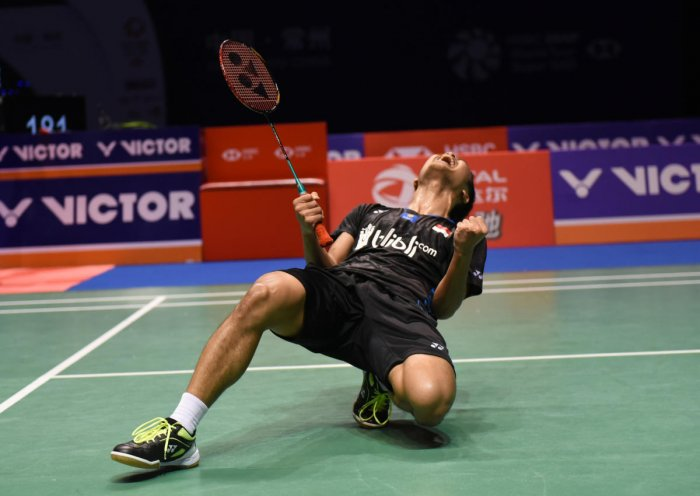 ECSTATIC: Indonesia's Anthony Sinisuka Ginting celebrates his win over Japan's Kento Momota in the men's final of the China Open. AFP