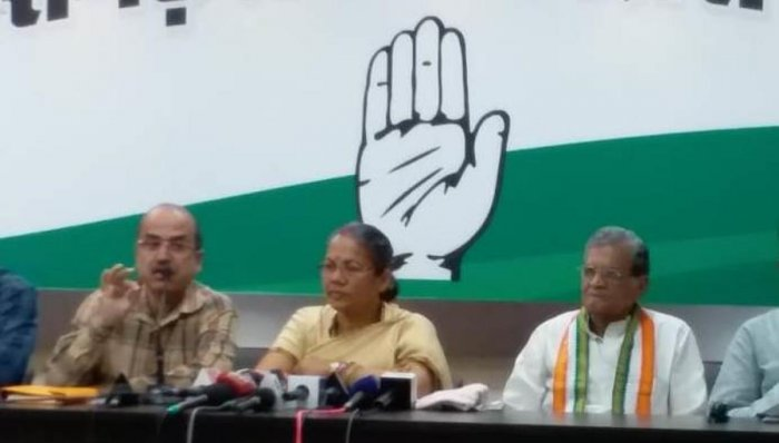 The congress leaders addressing the media in Raipur on Sunday.
