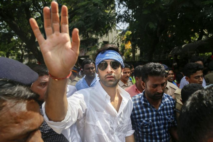 Bollywood actor Ranbir Kapoor participates in Ganapati immersion procession, at the R K Studio in Mumbai on Sunday. PTI