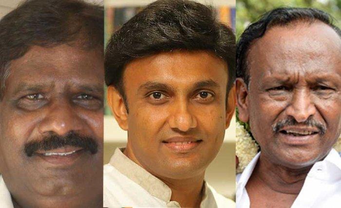 H Nagesh, K Sudhakar and M T B Nagaraj. DH File Photos.