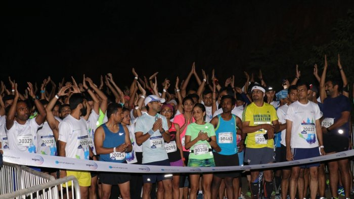 Participants at the Spirit of Wipro run organised in the city on Sunday. Special arrangement.