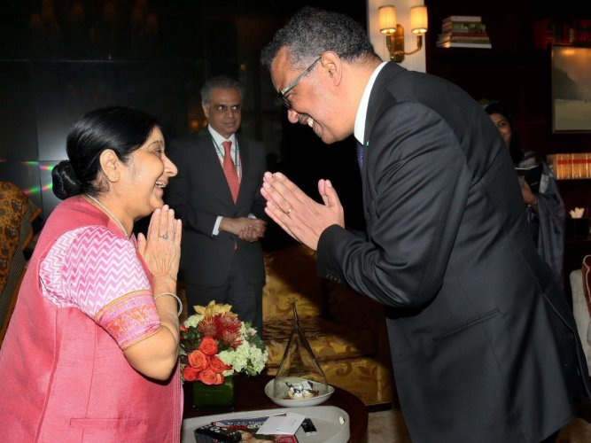 External Affairs Minister Sushma Swaraj greets Tredos Adhanom Ghebreyesus, Director General, World Health Organisation (WHO) on the sidelines of UN General Assembly in New York, Sunday, Sept, 23, 2018. (PTI Photo)
