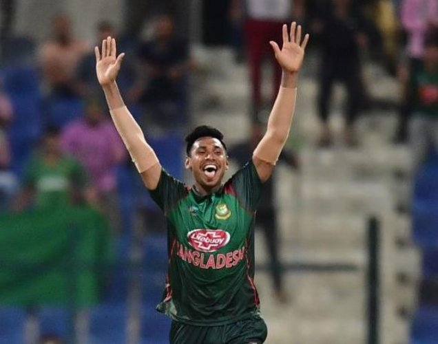 WILY: Mustafizur Rahman bowled a brilliant final over to seal victory for Bangladesh against Afghanistan. AFP