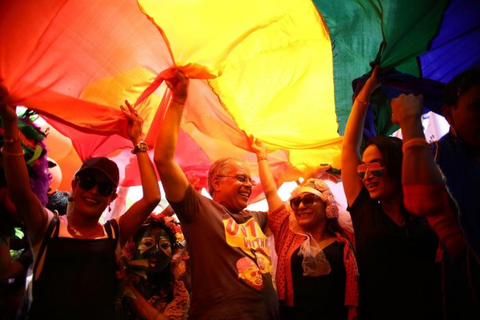 Members of Nepal's Lesbian, Gay, Bisexual and Transgender (LGBT) community take part in a gay pride parade in Kathmandu on August 27, 2018. - Each year Nepal's LGBT community take to the street on Gai Jatra, a Hindu and Buddhist festival associated with c