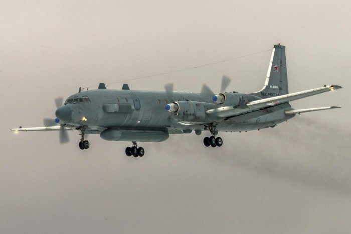 The Il-20 electronic intelligence plane was shot down while returning to a Russian airbase in northwest Syria last week. AFP File