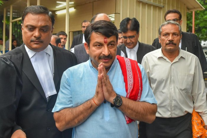 Delhi BJP President Manoj Tiwari appears at Supreme Court in relation to a sealing case, in New Delhi. PTI Photo