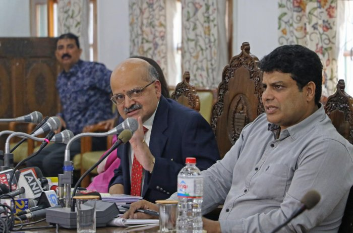 Jammu and Kashmir Chief Secretary B V R Subramanyam addresses a press conference on Tuesday. DH Photo/ Umer-Asif