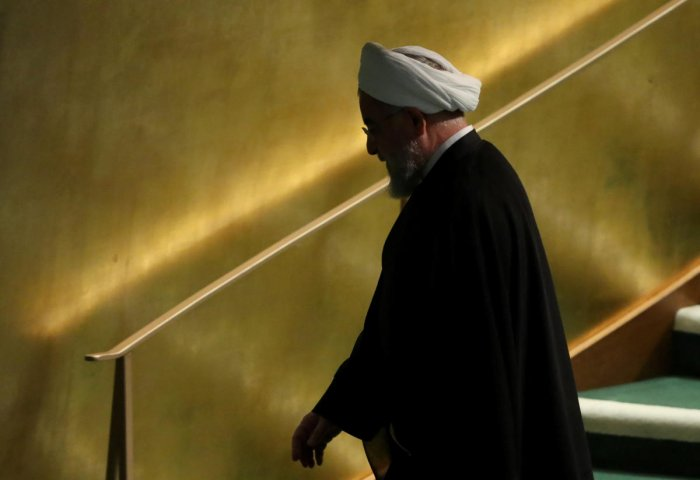 Iranian President Hassan Rouhani departs after speaking at the Nelson Mandela Peace Summit during the 73rd United Nations General Assembly in New York, U.S., September 24, 2018. Reuters