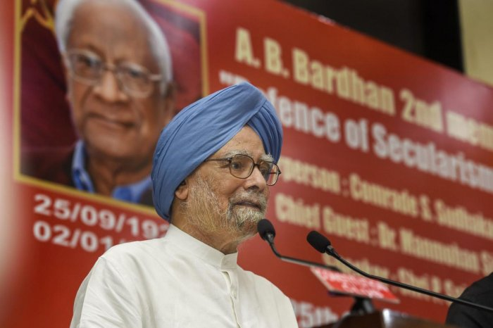 Former prime minister Manmohan Singh delivers the 'A. B. Bardhan Memorial Lecture' in New Delhi, Tuesday. PTI