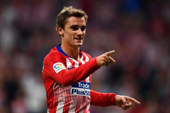Atletico Madrid's Antoine Griezmann celebrates after scoring against SD Huesca in Madrid on Tuesday. AFP