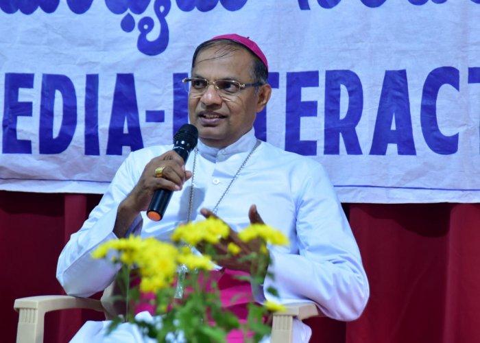 Mangaluru Bishop Dr Peter Paul Saldanha takes part in a media interaction programme at Sandesha Foundation in Mangaluru on Wednesday.